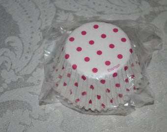 50 Pink Polka Dotted Standard Cupcake Party Liners/Cupcake Liner/Cupcake Liners/White Cupcake Liners