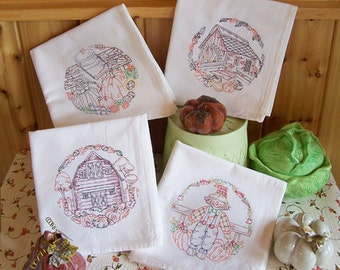 Flour Sack Embroidered Set of Fall Country Designs