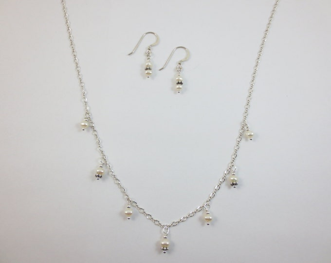 Dainty Dangle 4 mm Fresh Water Pearls Necklace & Earrings on Sterling Silver or 14k Gold Fill - Bead Jewelry - Beaded Jewelry