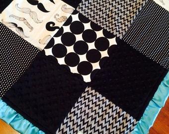 Aqua Mustache Blanket
