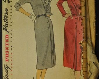 Simplicity 1353 Misses' One - Piece Dress Vintage 1950s Mad Men Era Sewing Pattern 1955