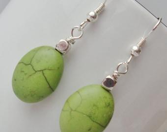 Green Turquoise Earrings, Green Stone Earrings, Lime Green Earrings, Green Earrings, Green Drop Earrings, Green Dangle Earrings, Turquoise