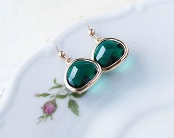 Emerald Green Dangle Earrings - Gold Filled Framed Glass Earrings