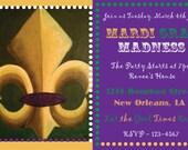 "Printable Mardi Gras Party Invitation - 4x6"" or 5x7"" - Fat Tuesday|Fleur de Lis|Beads|New Orleans|Purple|Green|Birthday Party|NOLA|Invite"