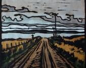 Country Road Linocut Print, Hand Painted Lino Print, Tasmanian Country Road