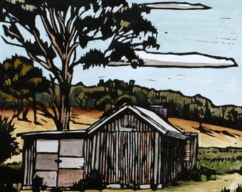 Linocut Print - Handpainted - Australian Landscape - Bush - Sommers Bay Shack