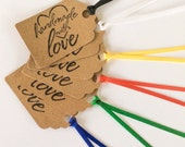 Handmade with Love Gift Tags Multi Color (6) READY TO SHIP
