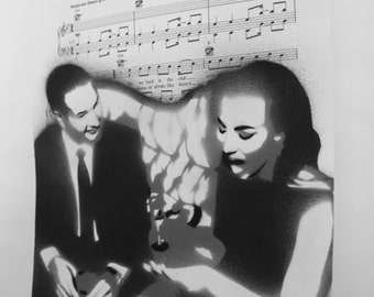 Custom Portrait Spray Paintings on Your Choice of Sheet Music - Made to Order