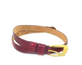 Vintage Adrienne Vittadini reptile print leather belt - brass fittings - deep red / burgundy / glazed