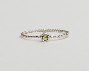 Delicate Rope Ring - Stone of your Choice, Birthstone- Silver, 14k Gold Filled, or solid 14k Yellow, Rose or White gold, Handmade to Order