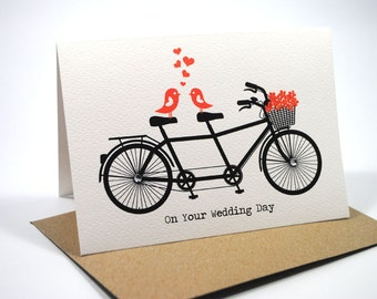 Wedding Card Congratulations - Black Tandem Bike with Love Birds and Red Flowers - WED036