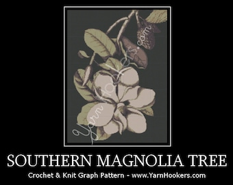 Southern Magnolia Tree - Afghan Crochet Graph Pattern Chart - Instant Download