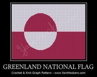 Greenland National Flag - Afghan Crochet Graph Pattern Chart - Instant Download