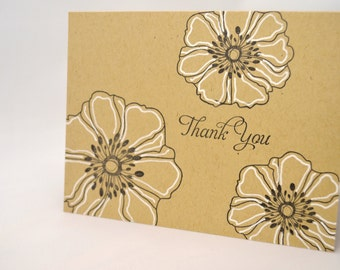 Floral Thank You Notecard in Kraft