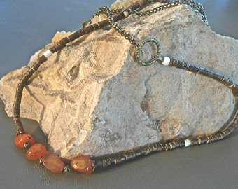 Necklace Rustic Orange Carnelian Stones Coconut Heishi Beads Tribal