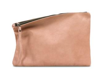 Peach leather clutch, foldover clutch, leather purse