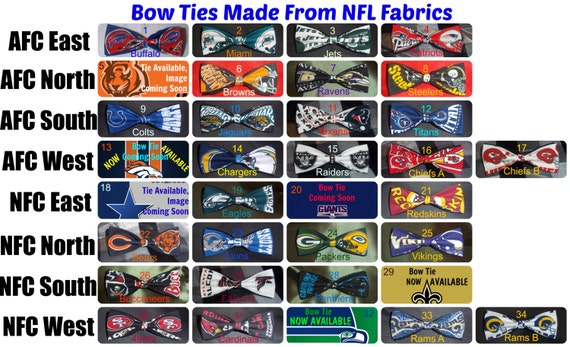 Bowties Made From 34 NFL Fabrics - Be The Classiest Fan at the Game With One of These Cool Bow Ties - U.S.SHlPPING ALWAYS ONLY 1.99