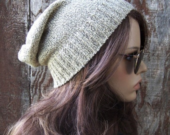 SLOUCH BEANIE recycled sweater hat eco accessories slouchy beaanie hat handmade unisex lightweight soft tan beige ski hat upcycled