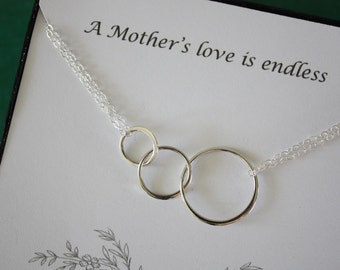 Mother Infinity Necklace, Mom, Family Circle, Sterling Silver, Good Karma, Circles, Thank you card