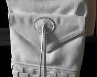 White LEATHER BOHO Shoulder Bag