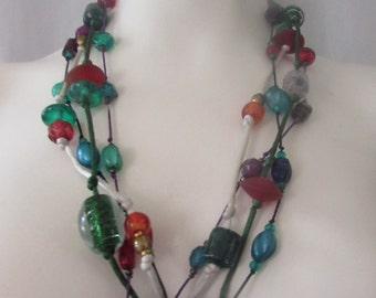 Vintage  4 strand  GLASS BEAD Necklace  BOHO  retro