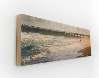 """Surf Watchers - Limited Edition Fine Art Photo Transfer on 10""""x30"""" Wood Panel by Patrick Lajoie"""