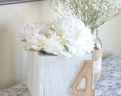 Wedding Table Decor- Distressed Wood Flower Boxes- Shabby Chic Ivory