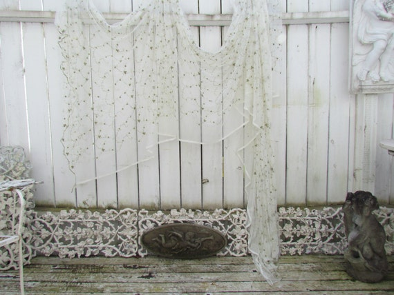 Lace Victorian Style Window Scarf Valance Curtain With Green