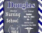 Nursing Medical Degree Male Graduation Party Invitation Graduation Invitation DIY Printable Personalized Radiography (X-ray) Graduate