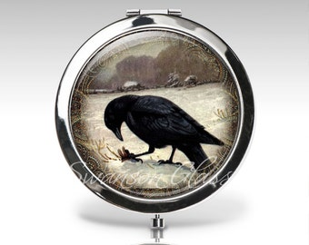 Crow Compact Mirror - Raven Mirror - Personalized Gift - Gift for Women - Purse Mirror  C23