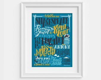 Hand lettering Shakespeare print  (Blue) - all tragedies (12,60 x 18,10)