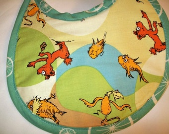 Organic Baby Bib - The Lorax - Dr Seuss - Earth Tones - Blue - Birdie Spokes - Can be Personalized with a Name