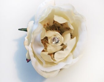 Ivory Flower Hair Piece, Rose Bobby Pin, Wedding Accessories Hair Pin, Bridal Couture Fascinator