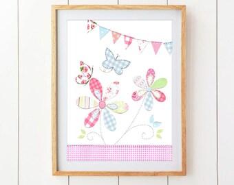Flowers and Butterflies Nursery Art - Pink, Green and Blue Nursery Decor -  Nursery Art - Cute Baby Nursery Art