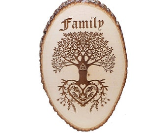 Custom wood burned Family Tree of life Plaque with back inscription