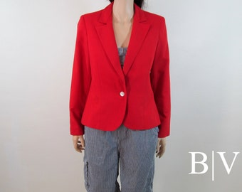 Vintage 80's Blazer Small Med 80's Jacket Medium Red Cropped Blazer Fitted Blazer Cropped Jacket Red Blazer 70's Blazer Minimalist Jacket H