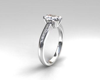 Oval cut White sapphire ring, diamond engagment, white gold, yellow gold, rose gold, oval sapphire, unique, engagement, diamond, vintage