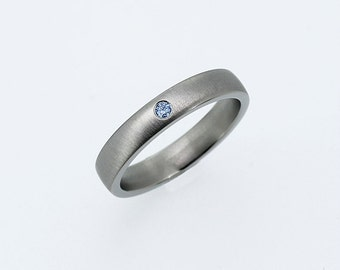 White gold wedding band with blue diamond, diamond wedding ring, gold band, contemporary, matte ring, engagement, unique, thin, light blue