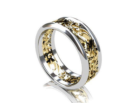 wide two tone filigree wedding band yellow by