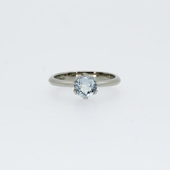platinum engagement ring aquamarine ring by torkkelijewellery