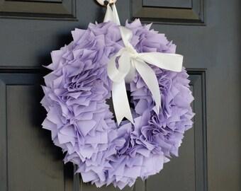 PURPLE SUMMER WREATH. Luxurious fabric wreath + bow. Baby shower wreath. Shabby chic wreath. Vintage wreath. Baby shower wreath.
