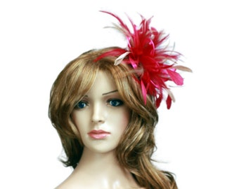Hot Pink and Taupe Nude Satin Feather Fascinator Hat - wedding, ladies day - choose any colour feathers and satin