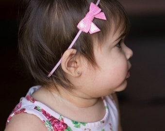 Pink Itty Bitty Sequins Bow Headband or Hair Clip. Baby Headband. Girl Headband. Newborn Headband. Infant Headband. Photo Prop.