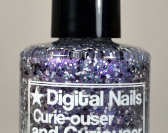 Curie-ouser and Curiouser, a black and white glitter topper inspired by Marie Curie by Digital Nails