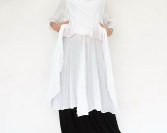 NO.145 White Cotton Floral Appliqué Tunic Dress, Day Dress