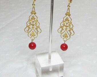 Red Riverstone Gold Filigree Teardrop Earrings