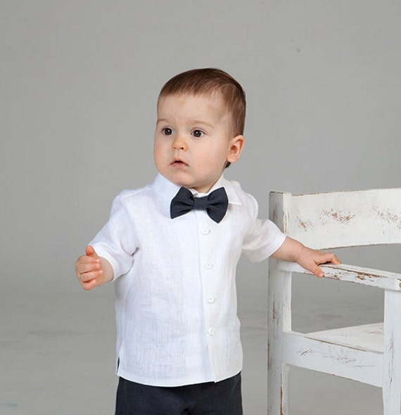 Baby boy linen shirt bow tie ring bearer white shirt baby boy for Baby shirt and bow tie