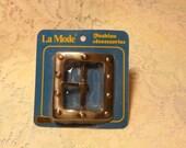 1960's La Mode Nickel Tone Large Belt Buckle Rivet Look Fashion Accessories
