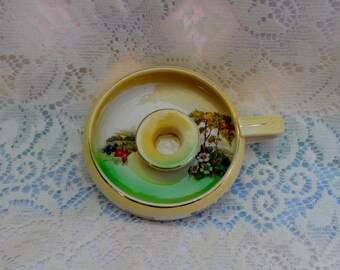 1940's Candlestick holder With Handle Souvenir Ceramic Victoria B.C. Hand Painted Made in England Shabby Chic Victorian
