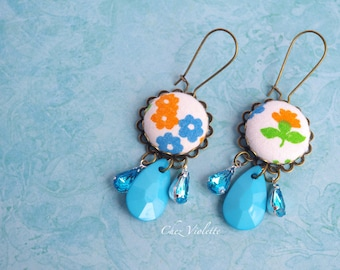 Orange Turquoise fabric earrings / kidney ear wire / Flower floral spring Jewelry